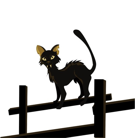 cartoon  image of black cat isolated on white Stock Vector - 7747706