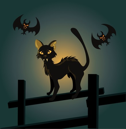 illustration of a black cat on a fence and a vampire bat on Halloween night.  Vector