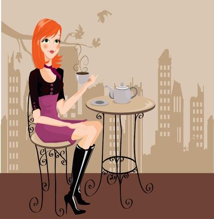 armchair: irl drinking coffee