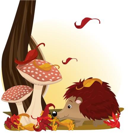 mushroom cartoon: Hedgehog under mushroom