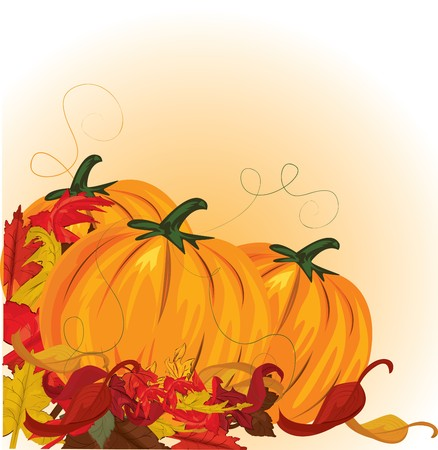 fall harvest: autumn pumpkins and colorful leaves  Illustration