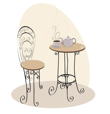 50s: French Cafe Table Illustration