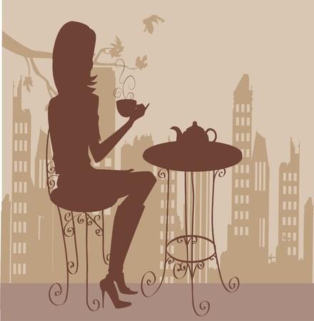 woman eat: joven de la taza de caf�