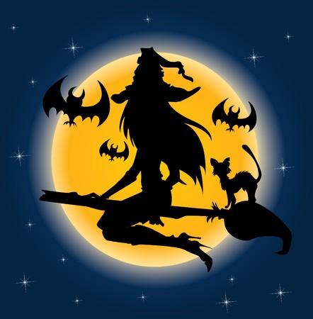 escoba: Bruja de Halloween