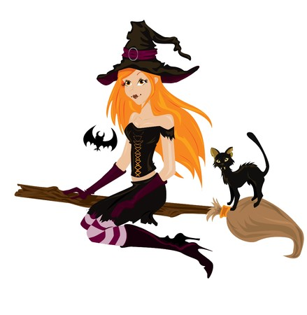 cartoon witch: halloween witch Illustration