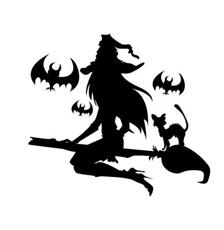 pohanský:  Illustration of a witch with Halloween elements. One color.  Ilustrace