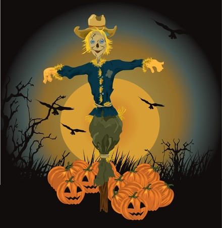 halloween scarecrow illustration Stock Vector - 8001391