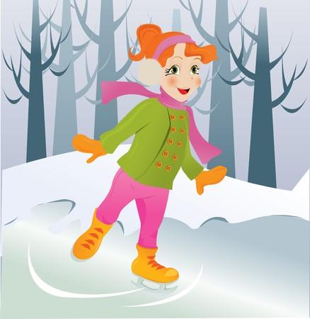 Ice skating girl. Vector