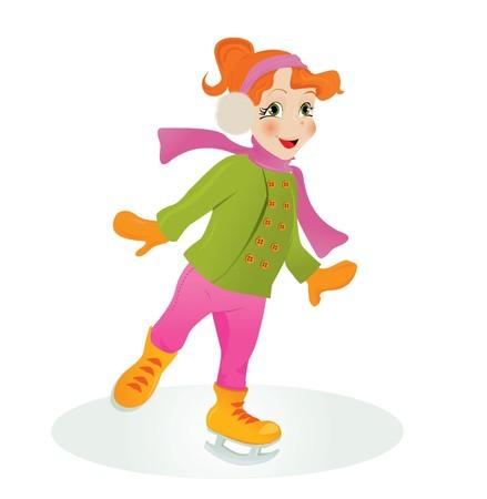 Ice skating girl. Stock Vector - 8001270