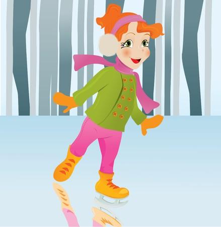 Ice skating girl. Small girl with big smile on ice. cartoon illustration.  Vector