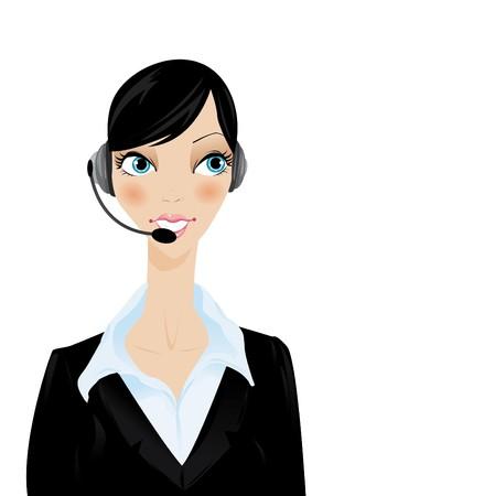 mujer con auricular