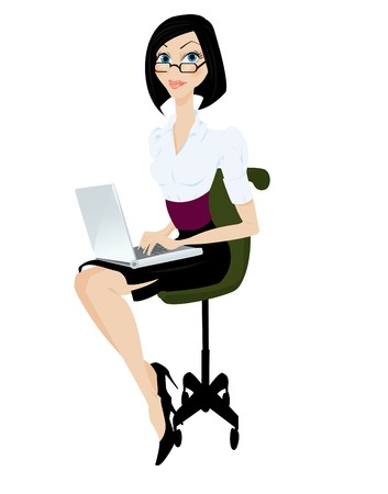 mujer con ilustración de portátil