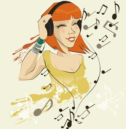 image of girl listening to music  Vector