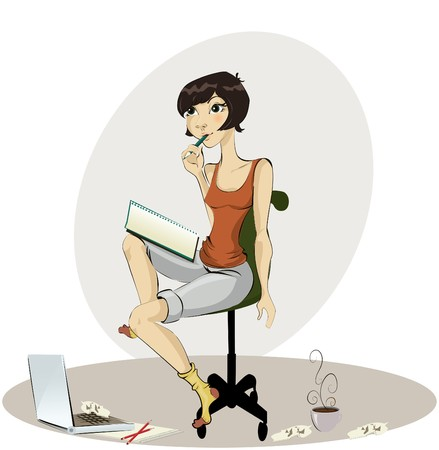 happy young woman drawing Vector
