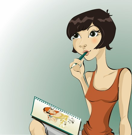 Pretty girl drawing Stock Vector - 8001292