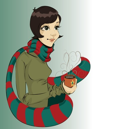 Girl holding a cup of hot coffee  Vector