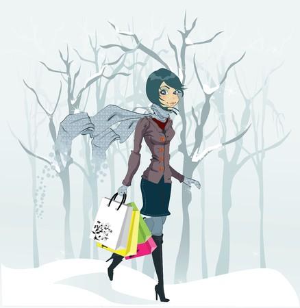 teen girl face: Chica de invierno y nevadas. Ilustraci�n  Vectores