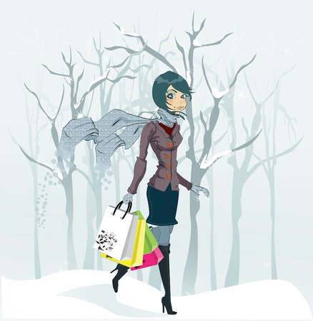 cartoon clothes: Winter girl and snowfall. illustration