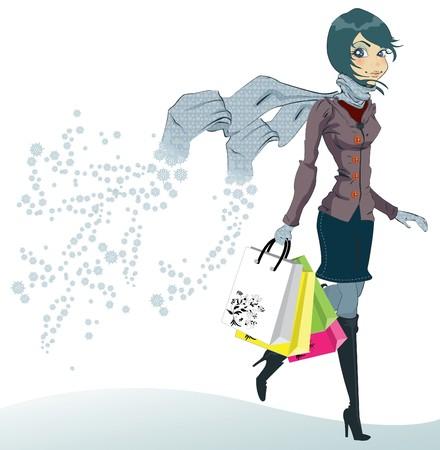 muffler: Shopping girl  Illustration