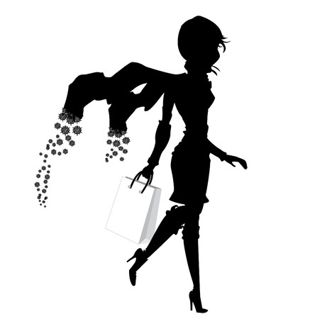 winter shopping girl with snowflakes shawl silhouette Stock Vector - 8001355