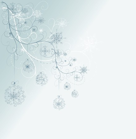 festoon: blue card with christmas snowflakes, vector illustration  Illustration