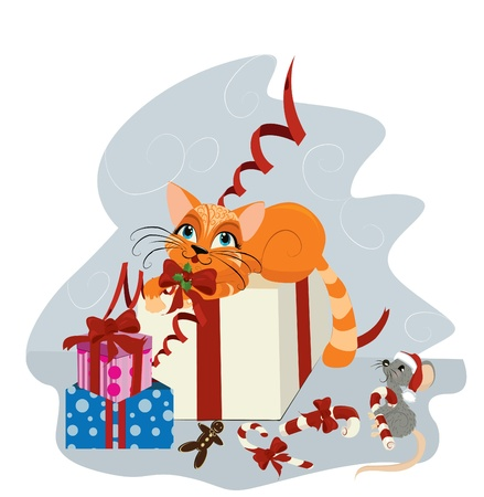 cat open: Cute Christmas cat and mouse