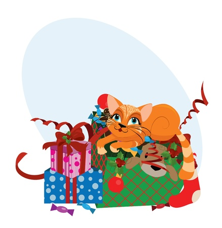 Cute Christmas cat - vector illustration.  Vector