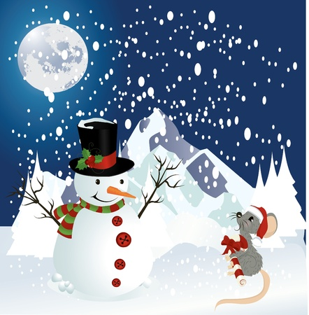 Snowman and mouse christmas background Vector