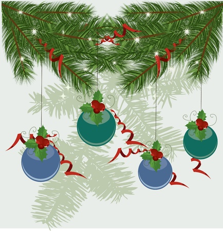 pimento: Christmas tree branches vector background  Illustration