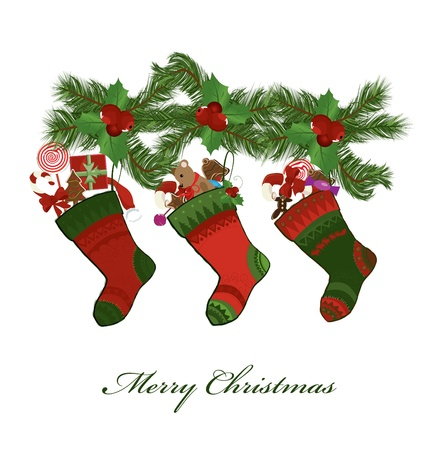 illustration of christmas socks on a white background  Vector