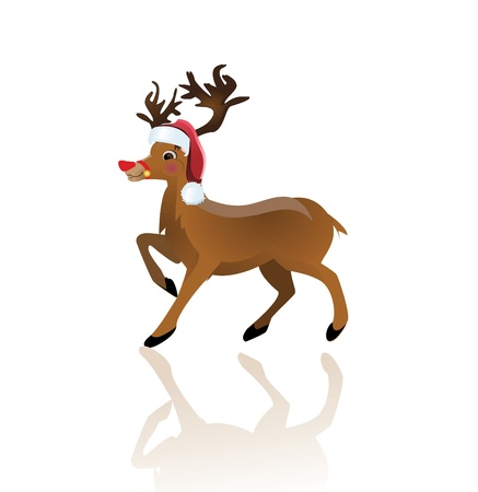cartoon reindeer: Cartoon reindeer on white background - vector illustration.