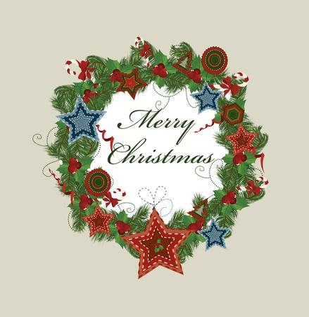 Christmas wreath. Vector  Stock Vector - 8345685
