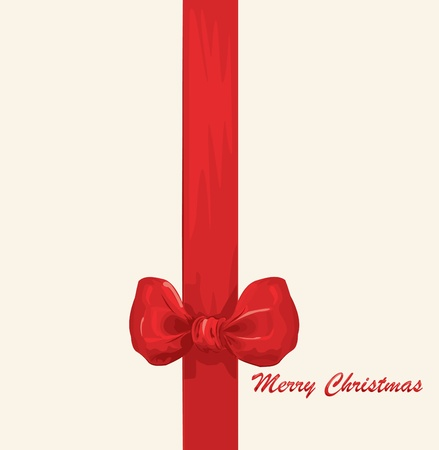 bestowal: Vector Christmas & New Years greeting card with a red ribbon