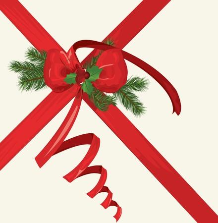 bestowal: Vector Christmas card with a red ribbon