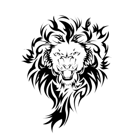 Lion in the form of a tattoo  Vector