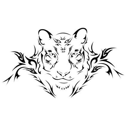 silueta tigre: Tatuaje tribal de tigre