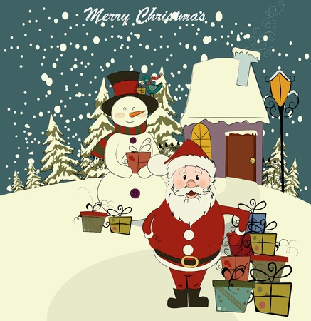 joyeux: Christmas card with Santa and snowman. Vector. Editable