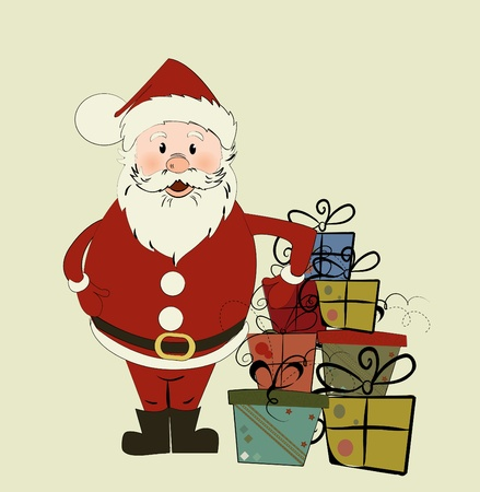 botas de navidad: Tarjeta de Navidad con Santa.  Vectores