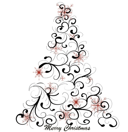 christmas scroll: Graphic elegant Christmas tree  Illustration