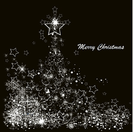 Vector Christmas tree made from snowflakes on a black background  Vector