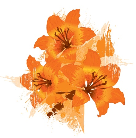 lily vector: Three orange lily, vector grunge floral background