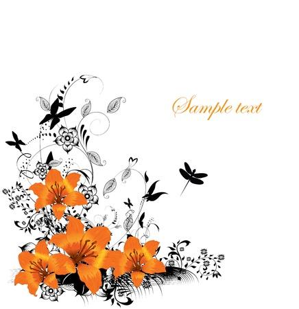 bordure floral: Fronti�re floral de vecteur