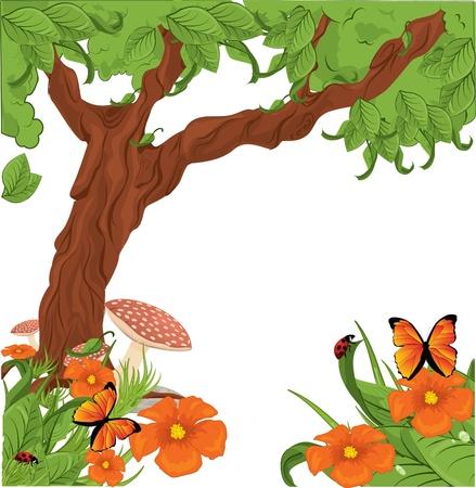 Fleurs avec arbre