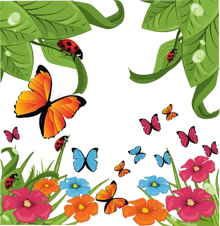 butterfly and flowers Stock Vector - 8985897