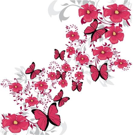 pink butterfly: Beauty pink flower design  Illustration