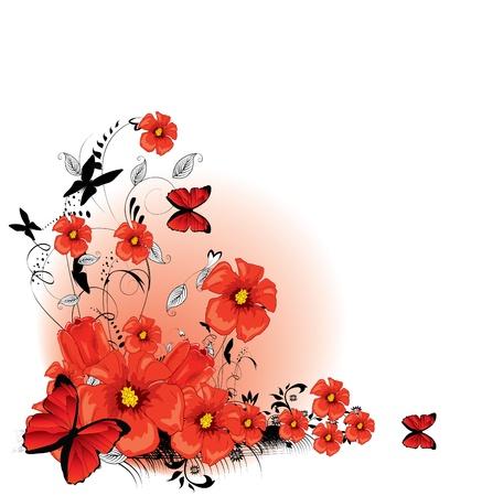 Floral fond rouge