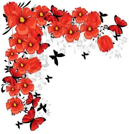 cute border: fiori rossi Vettoriali