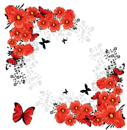 wish: Valentine floral red card