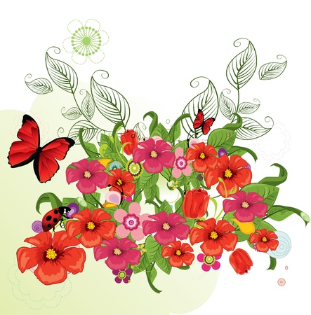 spring bed: Beautiful flowers  Illustration