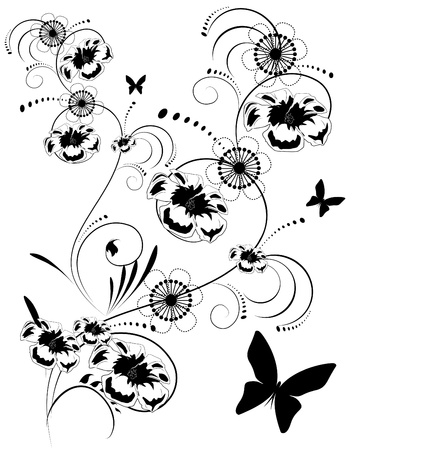 black and white floral background Vector